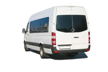 vans:  new bus white passenger isolated Stock Photo