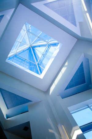 futuristic interior: Roof transparent in modern office building