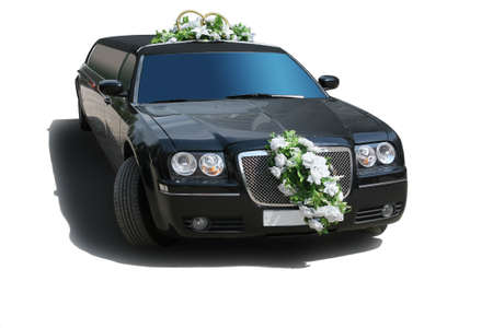Black wedding limousine on white background photo