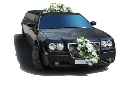 Black wedding limousine on white background photo
