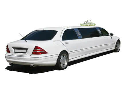 Beautiful white wedding limousine  isolated photo