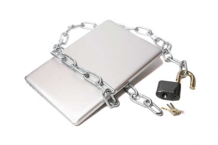 openly: open lock  metal chain and laptop  isolated