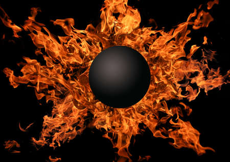 Black planet against bright flame Stock Photo - 13111055