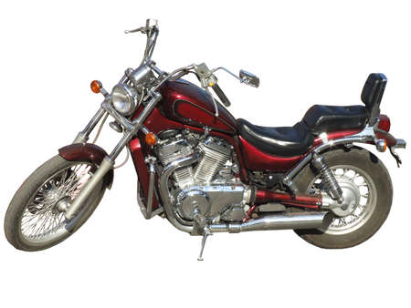 claret: The big brilliant claret motorcycle on a white background