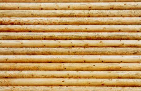Background wall from new pine logs Standard-Bild