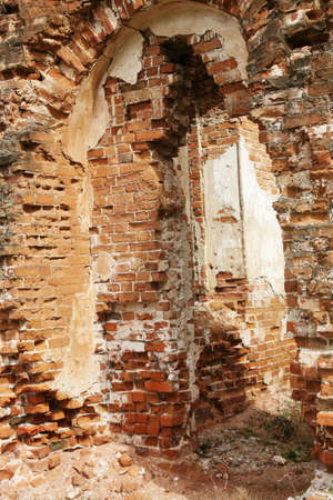 Brick wall of the destroyed ancient building Stock Photo