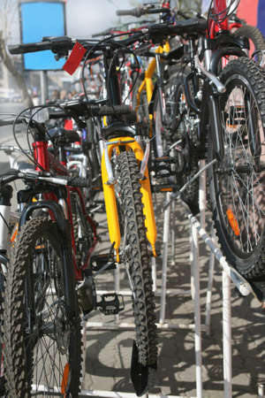 bike parking: Trade in new bicycles in city street