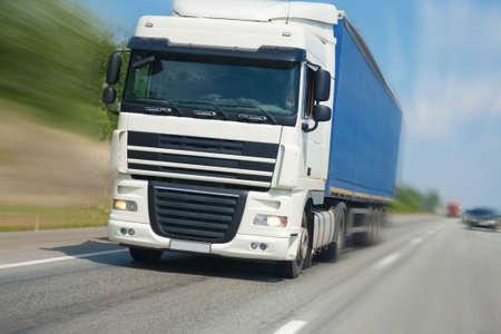 big white trailer transporting cargo Stock Photo - 13949907