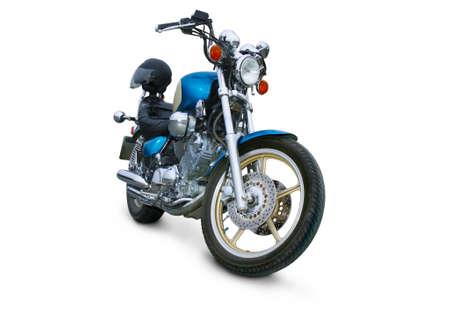 grande moto brillante sur fond blanc