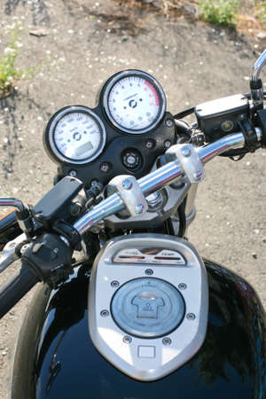 Wheel speedometer tachometre  motorcycle petrol tank photo