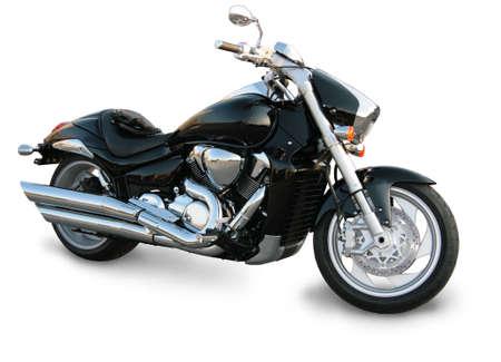 Hermosa motocicleta negro sobre fondo blanco Foto de archivo