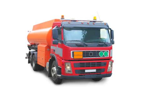 red truck orange tank gasoline
