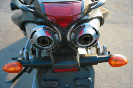 chromeplated: chromeplated exhaust pipe powerful motorcycle