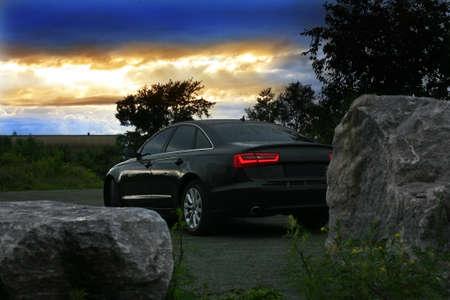 prestigious car in twilight on sunset Stock Photo - 14438219