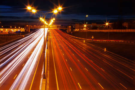 motorway: Lines of light from  cars at night on motorway