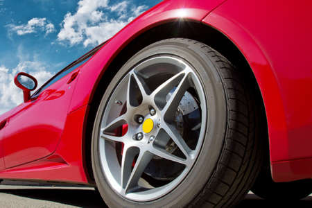 car tire: red beautiful expensive sports car