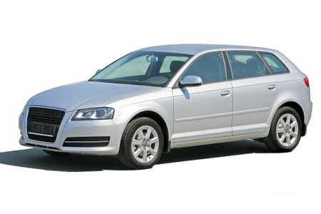 new motor vehicles: silvery beautiful modern car isolated
