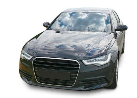 Роскошные темные автомобиля на белом фоне Редакционное