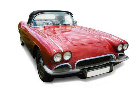 Alte Luxus-rotes Auto auf weißem Hintergrund Lizenzfreie Bilder