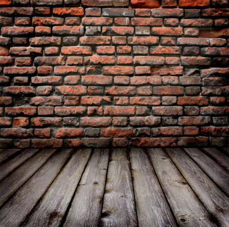 grungy background: Studio background  brick wall and timber floor