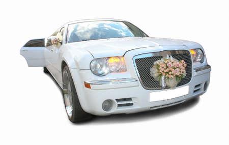 big white wedding limousine it is isolated Standard-Bild