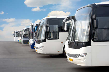 coach bus: big tourist buses on parking Stock Photo