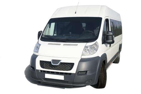 motor de carro: modernos minibuses blancos sobre fondo blanco