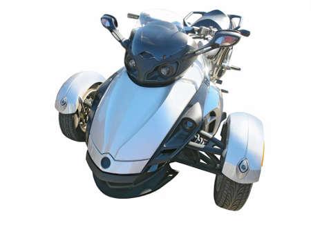 three wheel: blue three wheel motorcycle isolated