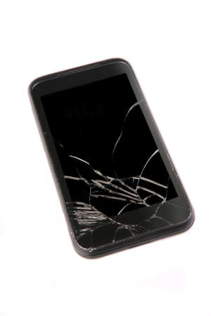 old cell phone: old mobile phone with the broken screen
