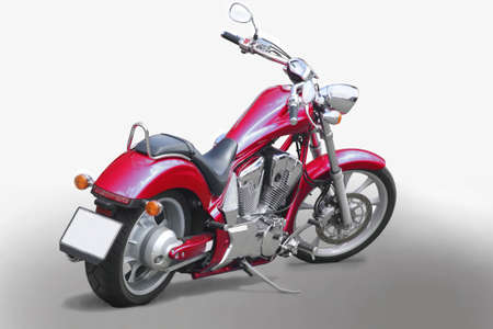 new motor vehicles:  powerful motorcycle on white background
