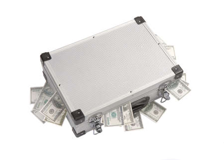 hundred dollar banknotes sticking out of an aluminum suitcase photo