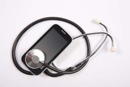 cell damage: medical stethoscope on mobile phone