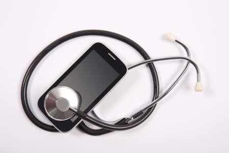 medical stethoscope on mobile phone