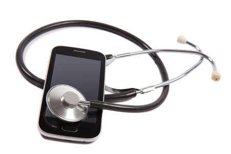 medical stethoscope on mobile phone Stock Photo - 17170566