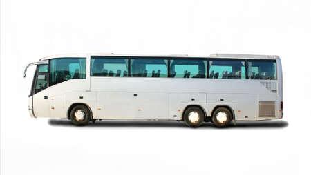большой туристический автобус на белом фоне