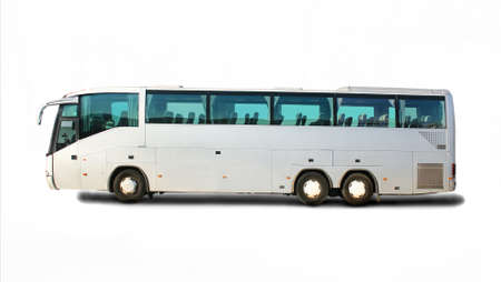 tourist destination: big tourist bus on white background Stock Photo