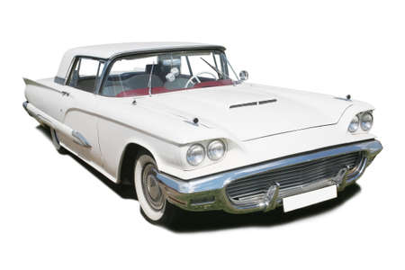 big white ancient American car is isolated