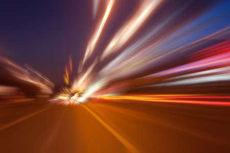 high-speed movement on the night road Standard-Bild