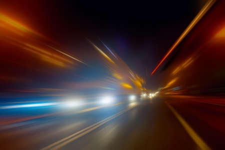 high-speed movement on the night road Stock Photo - 17886174