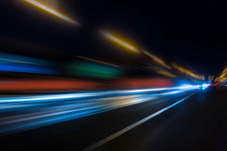 high-speed movement on the night road Stock Photo - 17992195