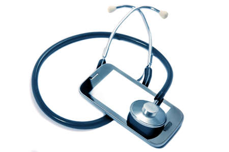 medical stethoscope on mobile phone photo