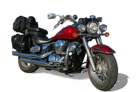 powerful modern motorcycle on white background