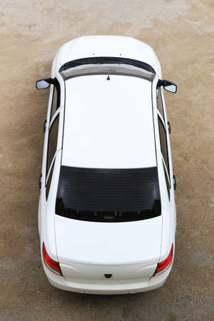 rear wheel: White modern car top view Stock Photo