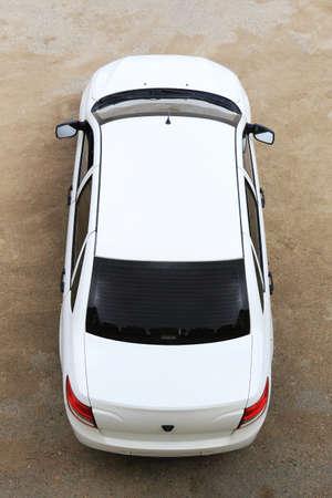 White modern car top view Фото со стока