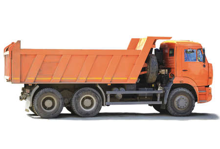 orange dump truck on white background photo
