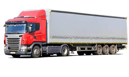 большой красный грузовик с фургоном изолированной Фото со стока