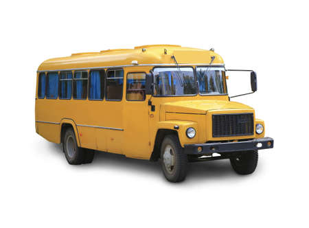 schooltime: yellow school bus it is isolated on the white