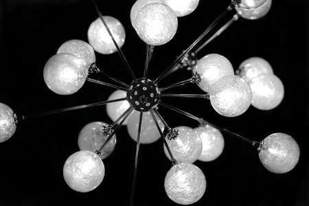 Electric chandelier with lamps in the form of spheres photo
