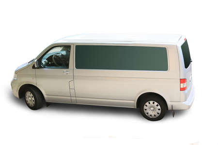 white minibus isolated on white background photo