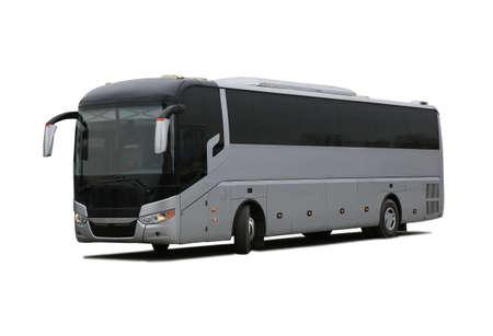 viagem: grande ônibus de turismo em fundo branco